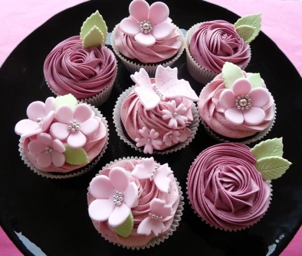 raspberry floral cupcakes