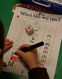 capital and lowercase.. Easy letter writing center to remember!