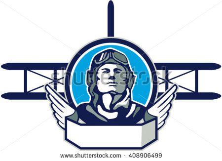 Illustration of a vintage world war one pilot airman aviator front with spad biplane fighter planes in background set inside circle done in retro style.   #memorialday #retro #illustration