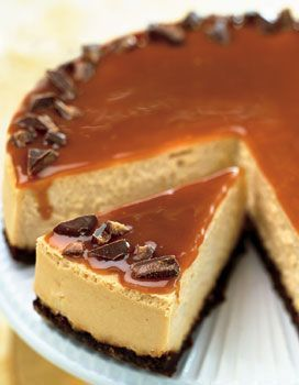 Toffee Caramel Cheesecake with Gingersnap Crust