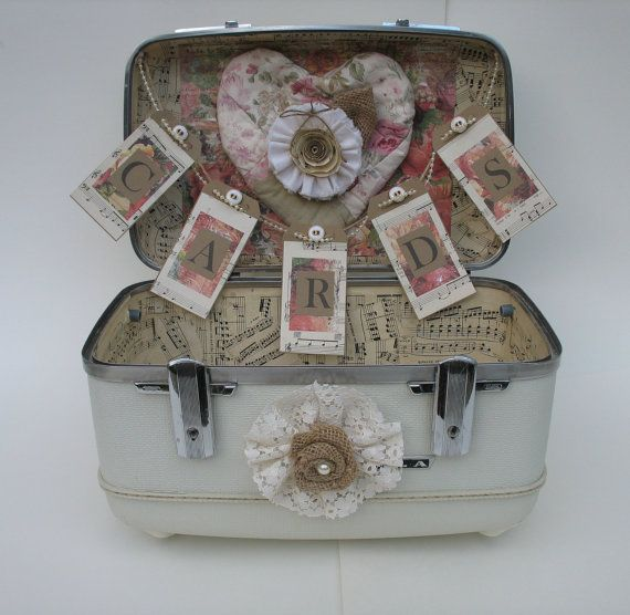 Wedding Card Box - Vintage Suitcase - Shabby Chic Wedding Card Holder
