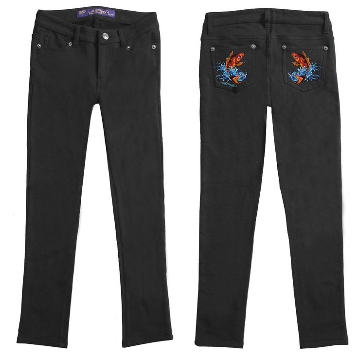 Ed Hardy Girls Embroidered  Pocket Leggings - Black
