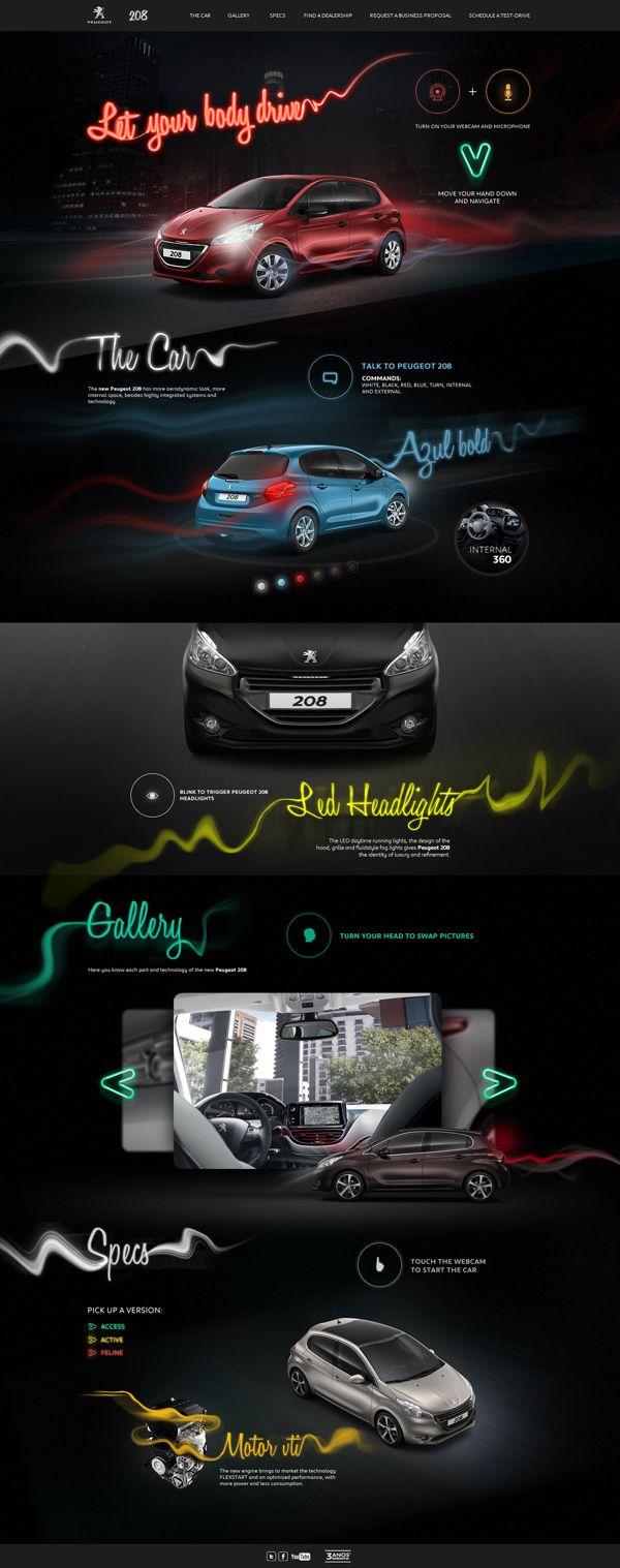 Hotsite Peugeot 208 on Behance | #webdesign #it #web #design #layout #userinterface #website #webdesign < repinned by www.BlickeDeeler.de | Take a look at www.WebsiteDesign-Hamburg.de