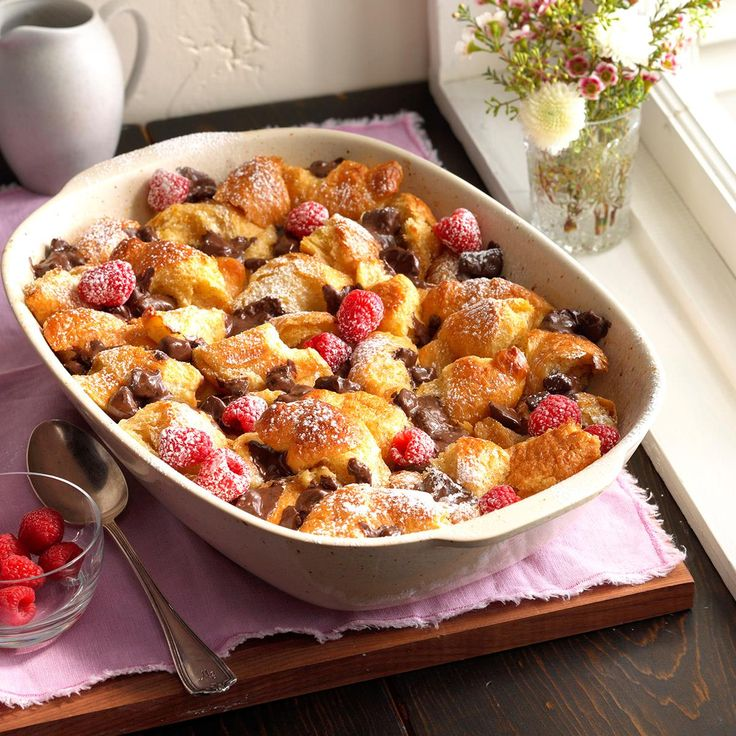 Dark Chocolate Croissant Bread Pudding Recipe -Croissants make an incredible base for this rich, chocolaty bread pudding. I prefer dark chocolate, but semisweet or white chocolate work, too. Garnish with your favorite nuts. —Jennifer Tidwell, Fair Oaks, California