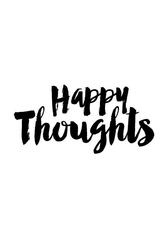 Happy Thoughts Cursive Print Handwritten Poster by MottosPrint ( pensamentos felizes)