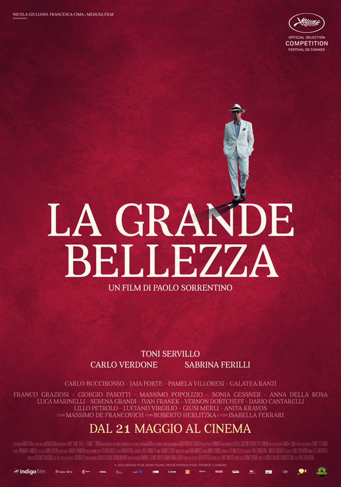 La Grande Bellezza (2013): Jep Gambardella has seduced his way through the lavish nightlife of Rome for decades, but after his 65th birthday and a shock from the past, Jep looks past the nightclubs and parties to find a timeless landscape of absurd, exquisite beauty.