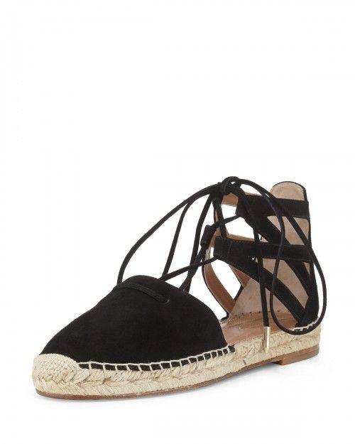 Aquazzura+Belgravia+Suede+Closed+Toe+Espadrille+Sandals+Black+Women's+37+5b+7+|+Shoes+and+Footwear