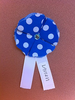 Fabric flower name tags