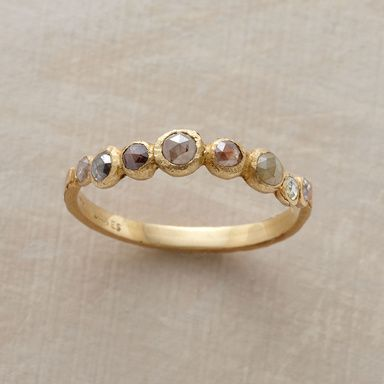 RANDOM DIAMOND RING -- Rejoicing in randomness, Jennifer Dawes assembles a varied palette of opaque, rose-cut diamonds. 18kt gold. Handmade in USA. Whole sizes 6 to 8.