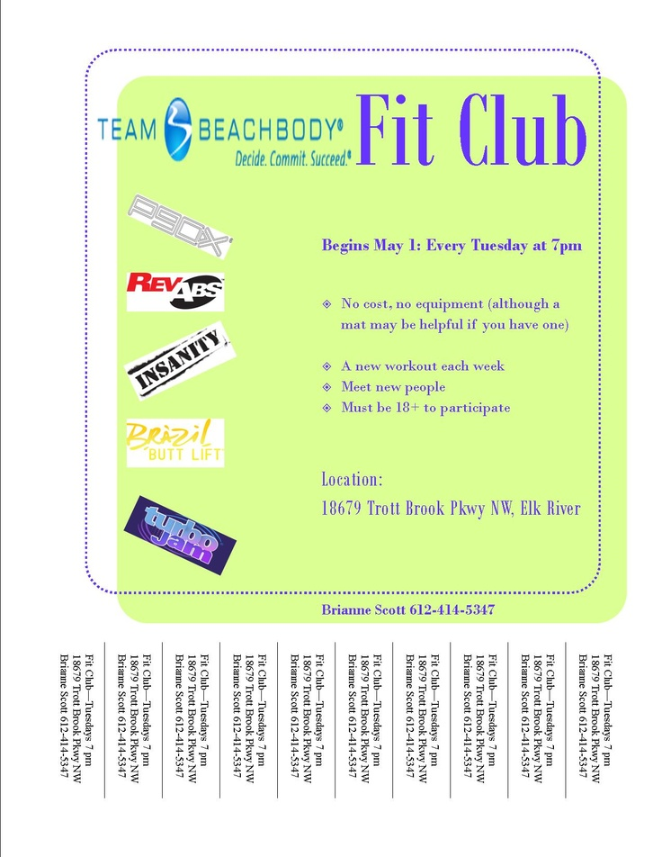 FREE Fit Club in Elk River, MN begins May 1 @ 7 PM. See you there!: Fit Center, Fit Club, Free Fit, La Fit