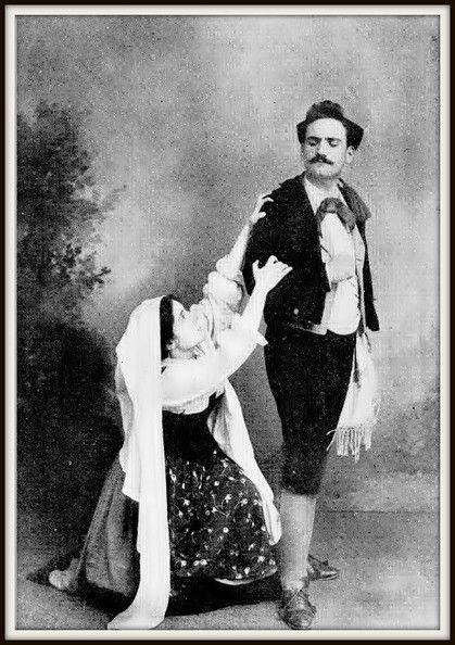 Enrico Caruso as Turiddu, Enrichetta Ferrara-Moscati as Santuzza in Cavalleria Rusticana.  Caserta, 1895