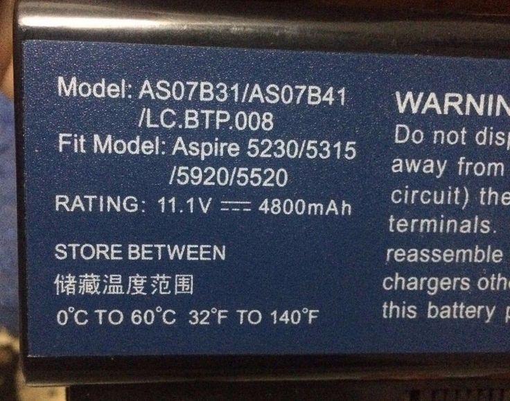 Battery For Acer Aspire 6920G 6930 5520 5920G 5720G 5910G 5930G 8920G 7720 5930G