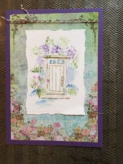 Art Impressions Rubber Stamps: Wonderful Watercolor: Ai Water Color: English Door.  Handmade card.