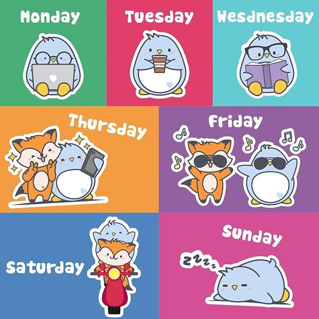 This is the Piki's week.   #pikithepenguin #penguin #fox #weekend #week #monday #tuesday #wednesday #thursday #friday #saturday #sunday #job #coffee #book #selfie #party #travel #sleep #friends #picoftheday #instagood #myweek #nice #bestfriends #pusheen #sleepy #reading #day #working