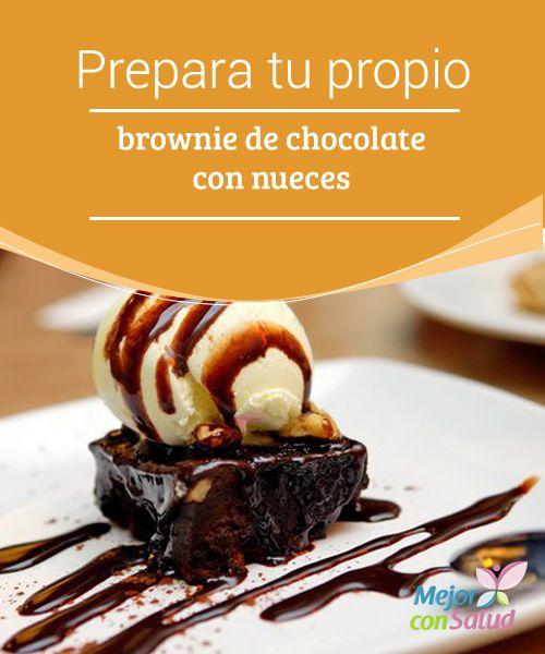 Prepara tu propio Brownie de chocolate con nueces  Aprende hasta 3 recetas muy distintas de #Brownie de #Chocolate: para horno, para microondas y ¡para sartén! además de algunas ideas que te encantarán... seguro.  #Recetas