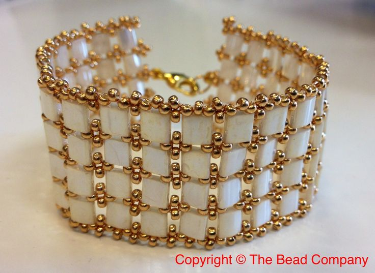 An elegant cuff bracelet made with Miyuki Tila beads and rocailles. Reminds us of the roaring 20's!  www.thebead.co.uk