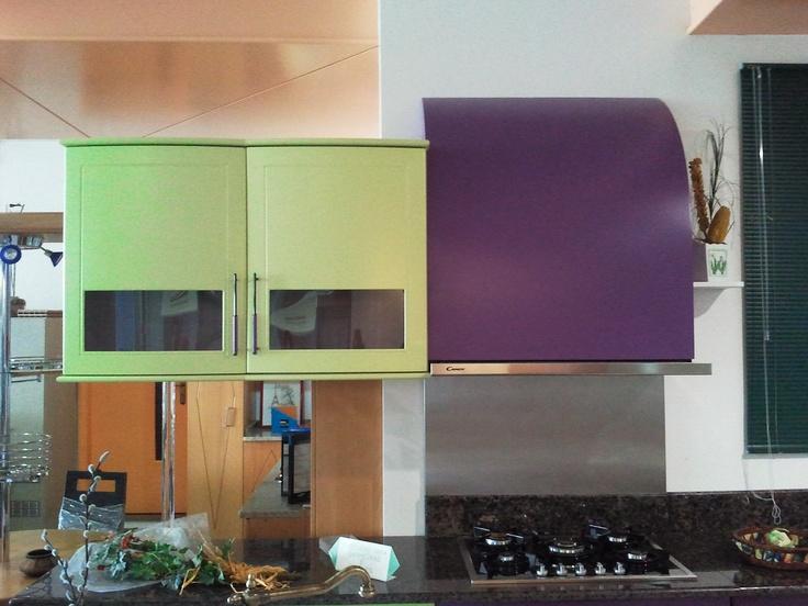 upper green and purple kitchen cupboard