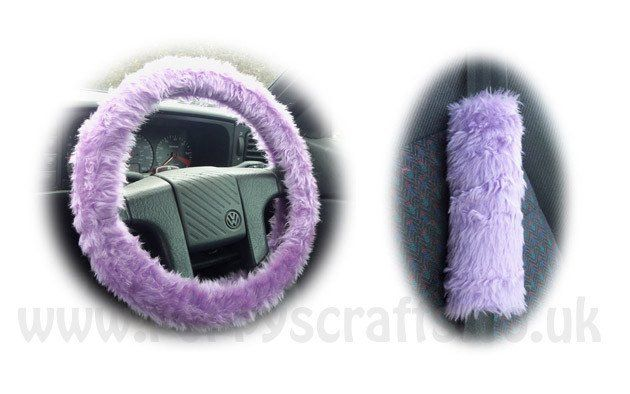 Gorgeous Lilac Car Steering wheel cover & matching fuzzy faux fur seatbelt…