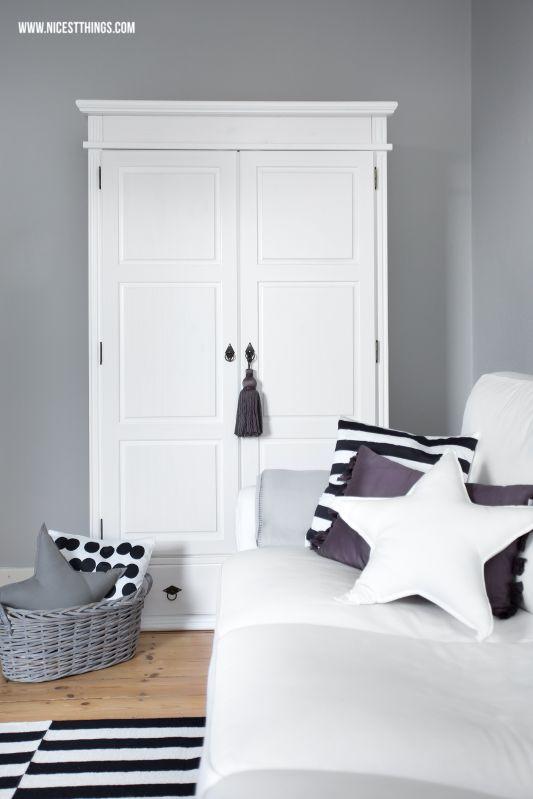 white country wardrobe / closet / armoire / farmhouse cupboard // star pillows cushions