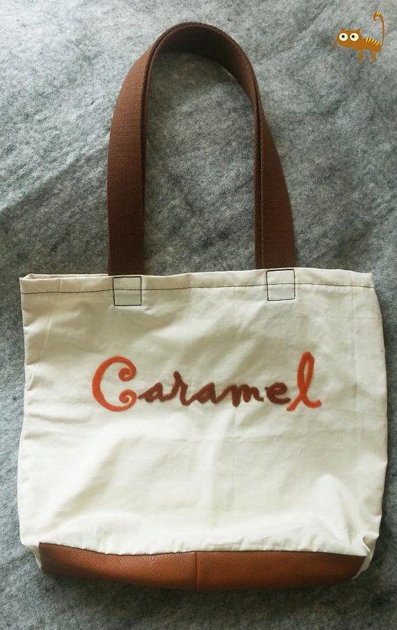 Cotton bag 100 Cotton Bio and vegetal leather bag by CaramelShop, $45.00