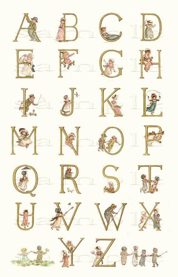 Adorable Adorned Alphabet - Wonderful Vintage Alphabet Print