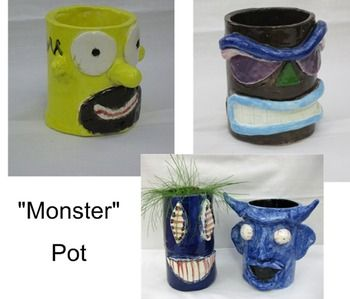 """You get FOUR projects in one with this hand-built ceramics """"choice"""" unit for middle school! Students will choose between the following projects: a """"monster"""" pot (for growing grass hair or other plants), a functional drinking mug, a word/text box sculpture, or a figurative sculpture."""