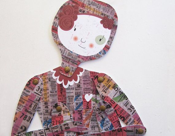Porteña articulated paper doll by MowObjetos on Etsy, €15.00