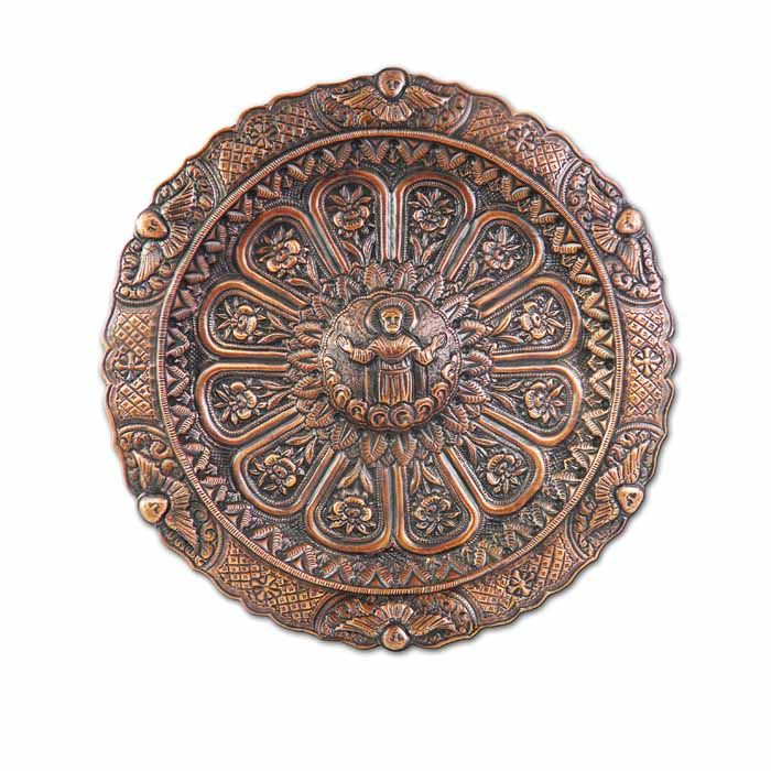 This copper clerical tray with Christ at the center and engraved floral decoration is a heriloom at the National Historical Museum of Athens.   Dimensions:  diam. 23cm  Copper