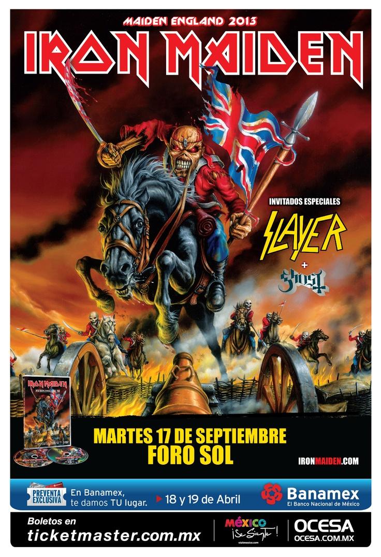 Iron Maiden, Slayer, Ghost, 17 de septiembre, Foro Sol #IronMaidenMx #SlayerMx #GhostMx