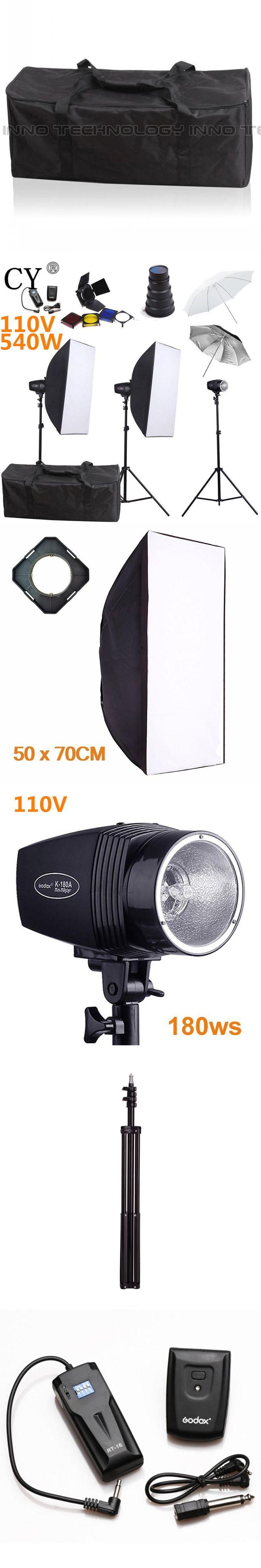 CY Photography Studio Flash Softb Box Lighting Kits 540w 110V Storbe Softbox Stand Umbrella Photo Studio Equipments Godox K-180A