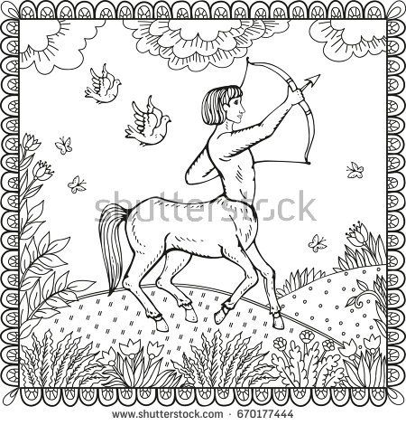 Centaur. Human warrior with horse body. Fantasy magic creatures collection. Hand drawn vector illustration. Engraved line art drawing, graphic mythical doodle. Template for card game, poster.
