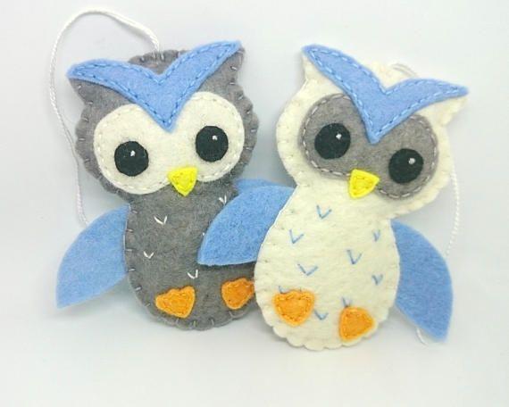 Felt owl ornament  Set of 2  home decoration for kids room