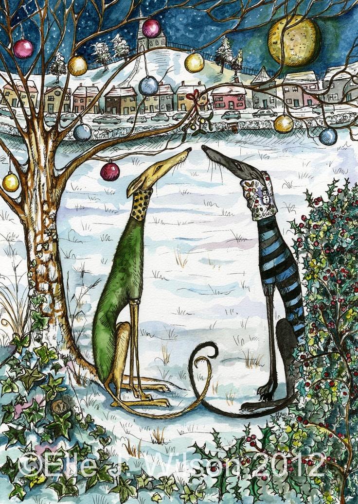 'A Little Magic Moment at Christmas' Christmas card by amazing doggy artist Ellie J. Wilson - pop along to her fab pinterest page for many more of her beautiful pictures :)Christmas Cards, Dogs, Greyhounds, Christmas Hound, Magic Moments, Doggie Artists, Christmas 3, Years Christmas, Hound Art
