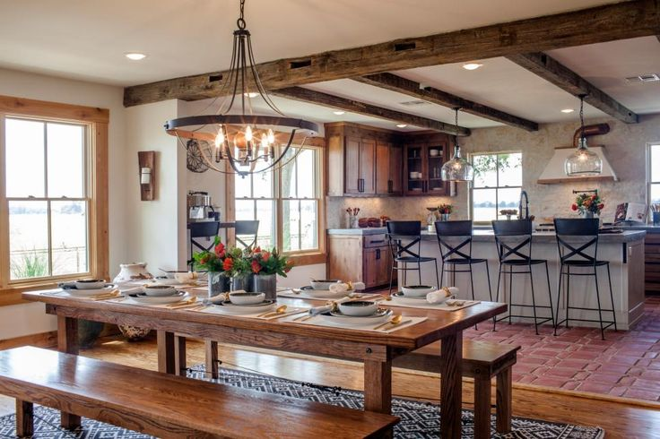 The home's original dining table was salvaged and restored by furniture designer and woodcraftsman Clint Harp.