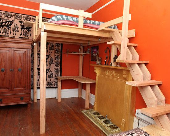 Fascinating Kids Loft Beds Preserving More Space In Small Bedroom: Awesome  Kids Loft Bed In Asian Bedroom With Soft Brown Ladder Which Is Ma.
