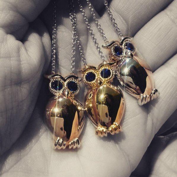 gioielli gufo in oro, diamanti, zaffiri, ametista, topazio