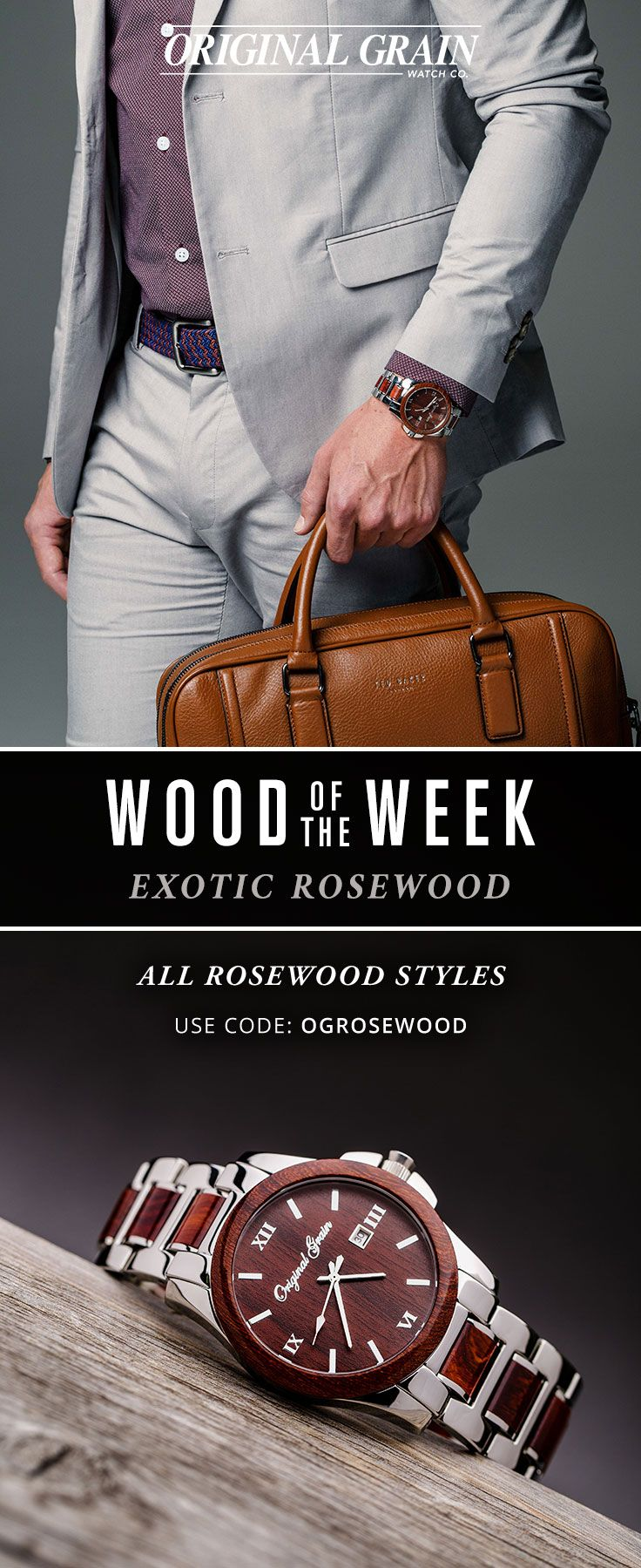 """Wood of The Week - Featuring Exotic Rosewood. Don't miss out, Take 20% Off all Rosewood Styles with code """"OGRosewood"""" Ends Sunday!"""