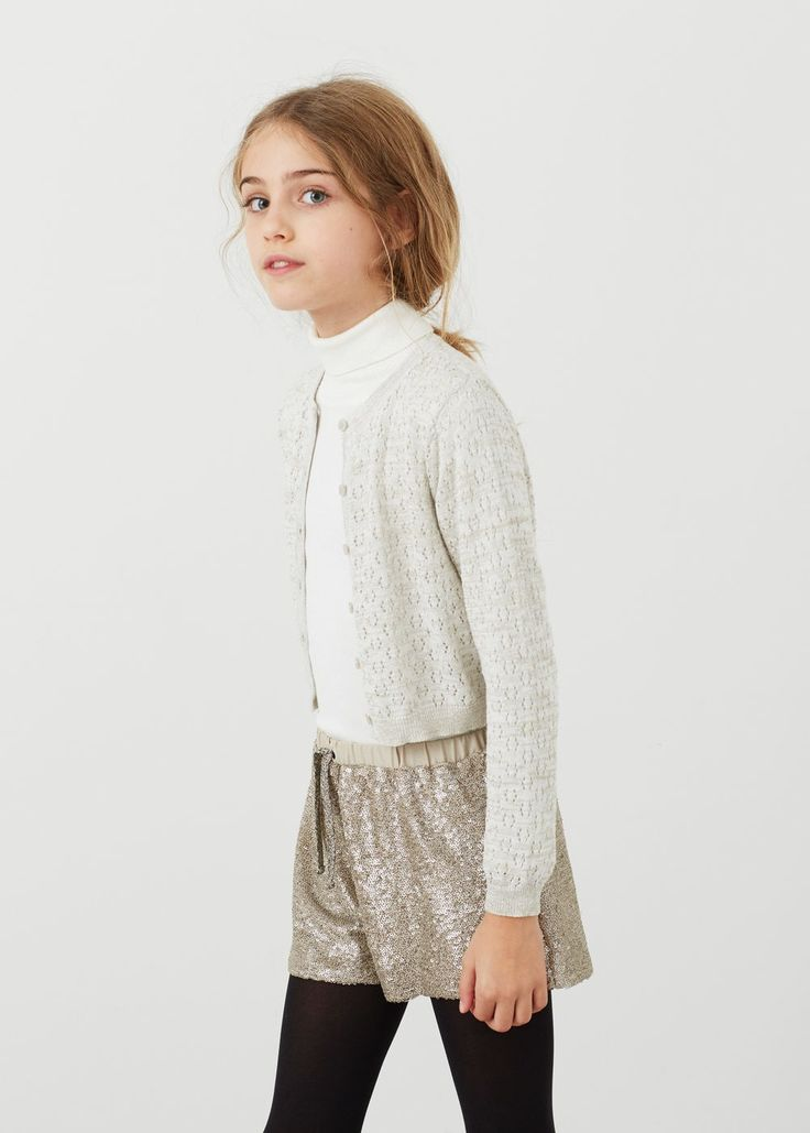 Metal thread cardigan | MANGO KIDS