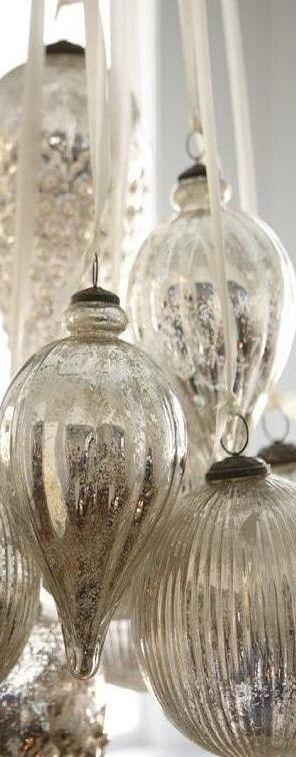 Mercury glass ornaments.