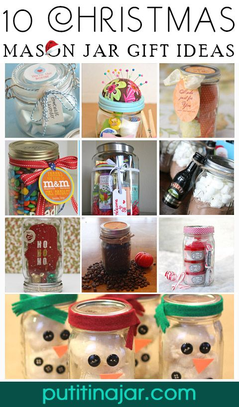 Mason Jar Crafts - 10 DIY Mason Jar Christmas Gift Craft Ideas & Tutorials | #crafts #masonjars via Put it in a Jar (putitinajar.com)