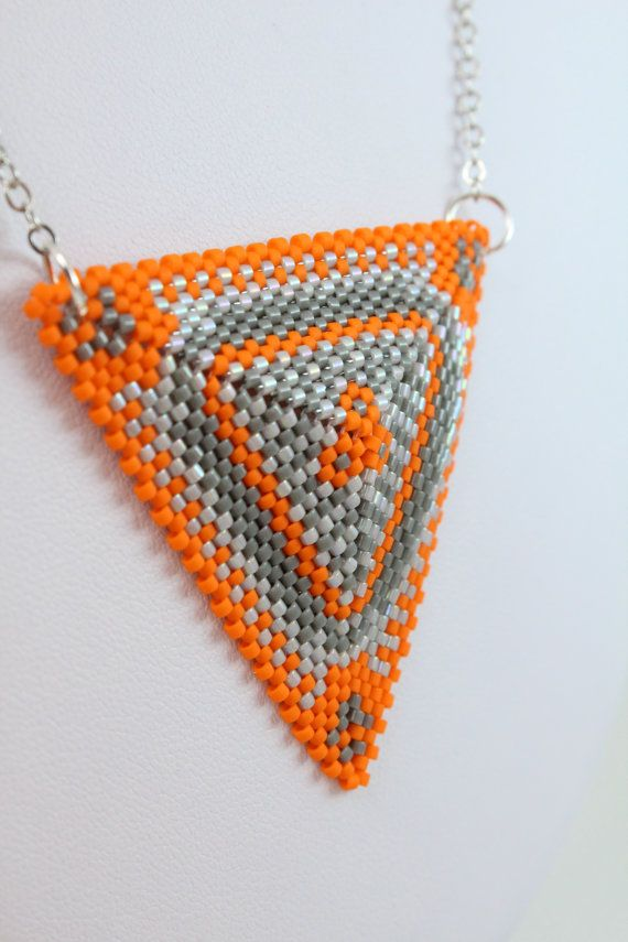 Triangle pendant necklace. Orange and gray triangle by AnnaMosztok