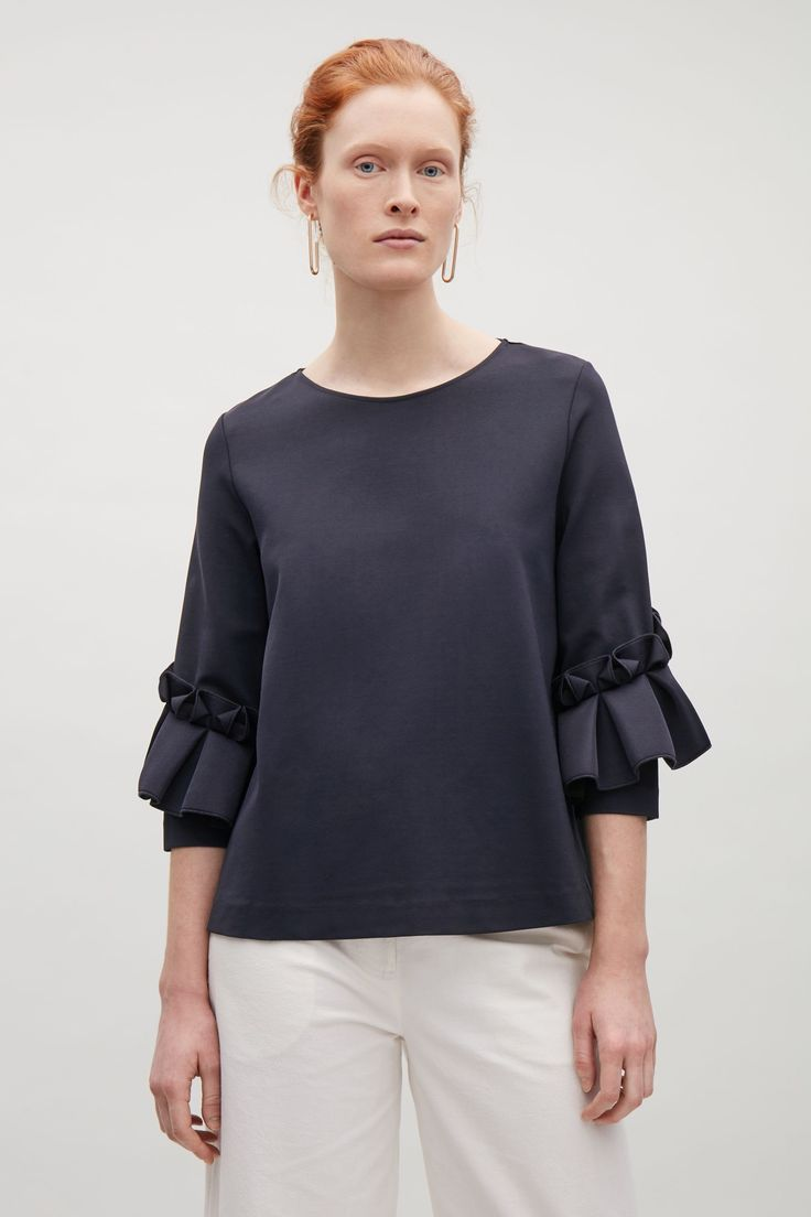 COS image 4 of Top with frill detailed sleeves in Navy