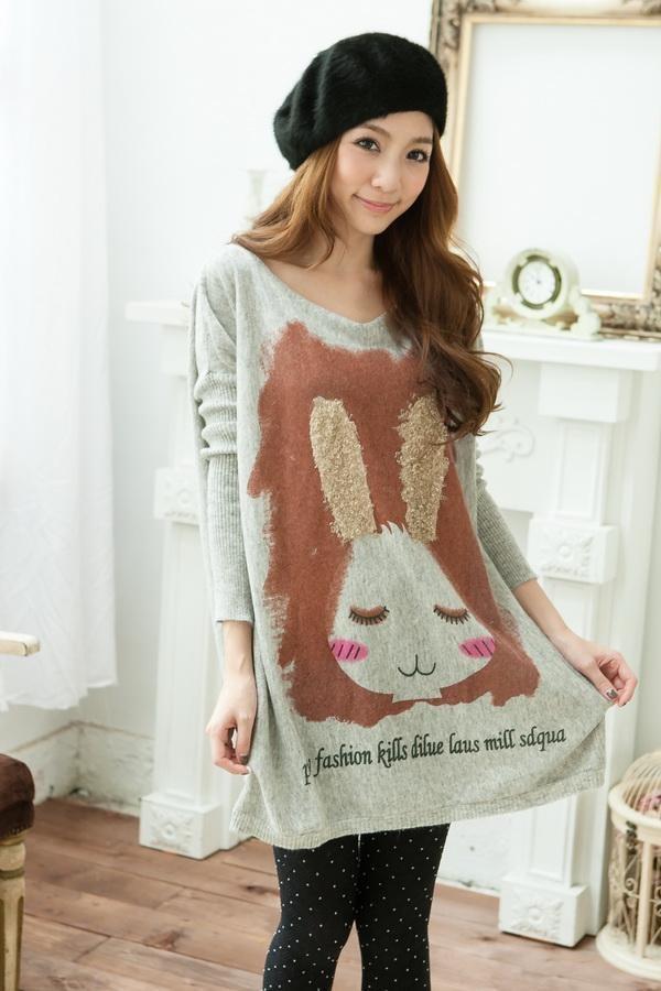 Big Rabbit Sweater on eBay $34.99: Bats Wings, Bats W Sleeve, Long Sleeve Sweaters, Knits Woman, Bunnies Gray, Knits Pullover, Prints Long, Gray Knits, Neck Long