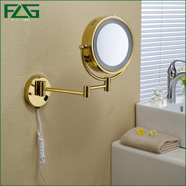Magnifying Gold Color Cosmetic Mirror With Led Light For Bathroom