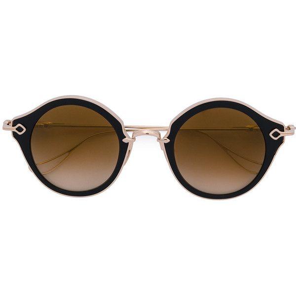 Chrome Hearts Bella sunglasses (128.140 RUB) ❤ liked on Polyvore featuring accessories, eyewear, sunglasses, metallic, chrome hearts, black and gold sunglasses, metallic sunglasses, metallic glasses and titanium glasses