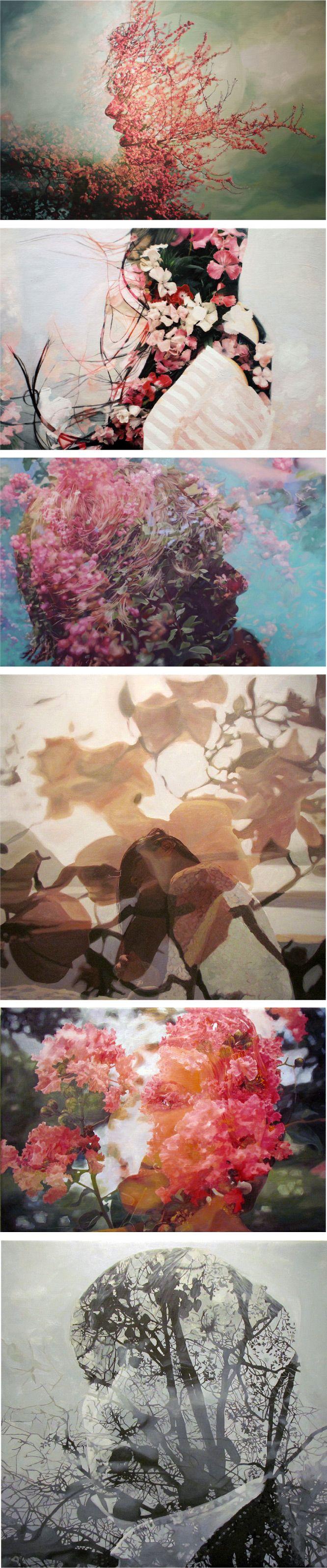 Paintings based on double exposures, by Pakayla Biehn.