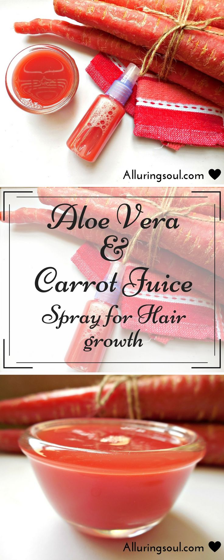 Carrot Hair Growth  Carrot hair growth spray mixed with aloe can be a perfect combination for promoting hair growth as they contain vitamin A, K, E which is the food for hair.