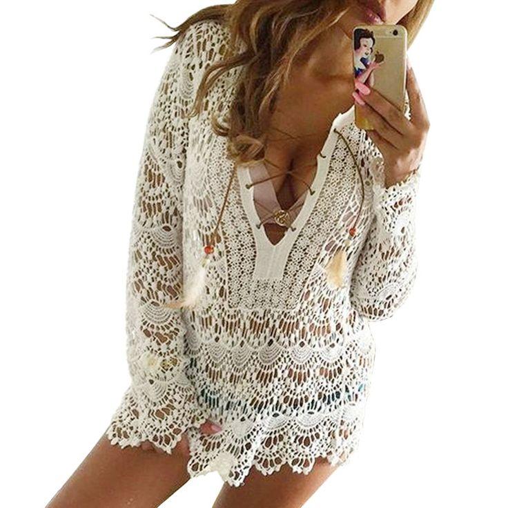 Elegant White Lace Blouse Tunic Shirt With 3/4 Sleeves //Price: $22.73 & FREE Shipping //     #hashtag1