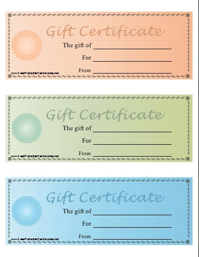 A set of three printable gift certificates on one sheet in pastel a set of three printable gift certificates on one sheet in pastel colors dollar amounts can be added within a seal design using the computer on t yadclub Image collections