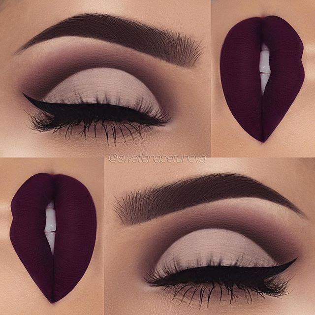 "Instagram media by swetlanapetuhova - Brows: @anastasiabeverlyhills dipbrow in ebony and clear brow gel Eyeshadows: @anastasiabeverlyhills single eyeshadows in ""dusty rose"", ""deep plum"", ""smoke"" and ""fresh"" Eyeliner: @tartecosmetics tarteist clay paint liner Lips: @kyliecosmetics kourt k liquid lipstick"